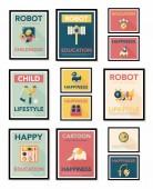 Spielzeug Poster flache Banner Gestaltung flachen Hintergrund Set, eps10 — Stockvektor