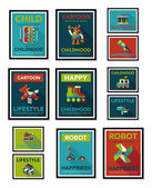Toy poster flat banner design flat background set, eps10 — Stockvector