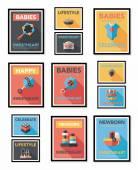 Baby poster flat banner design flat background set, eps10 — Vector de stock