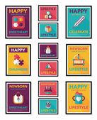 Baby poster flat banner design flat background set, eps10 — Stock Vector