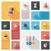 Fondo de interfaz de usuario de app plana utensilios de cocina, eps10 — Vector de stock