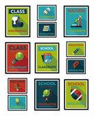 School poster flat banner design flat background set, eps10 — Stock Vector