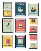 School poster flat banner design flat background set, eps10 — Wektor stockowy