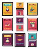 Travel poster banner design flat background set, eps10 — Stock Vector