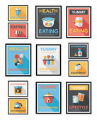Utensilios de cocina poster banner plano diseño fondo plano conjunto, eps10 — Vector de stock