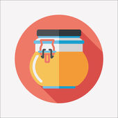 Kitchenware preserving container flat icon with long shadow,eps1 — Cтоковый вектор