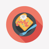 Breakfast toast flat icon with long shadow,eps10 — Stock Vector