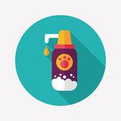 Sällskapsdjur schamponera flat ikonen med långa skugga, eps10 — Stockvektor