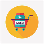 Pet sale shopping flat icon with long shadow,eps10 — Stock Vector