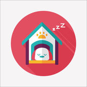 Pet dog house flat icon with long shadow,eps10 — Stock Vector