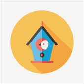 Pet bird house flat icon with long shadow,eps10 — Stock Vector