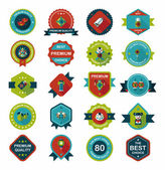 Chinese New Year badge flat banner design background set, eps10 — ストックベクタ