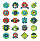 Coffee badge design flat background set, eps10 — Stockvector