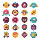 Kitchenware badge flat banner design background set, eps10 — Wektor stockowy