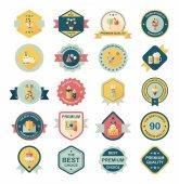 Cumpleaños divisa banner diseño fondo plano conjunto, eps10 — Vector de stock