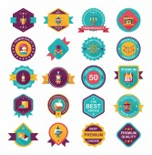 Christmas badge banner design flat background set, eps10 — Stock Vector