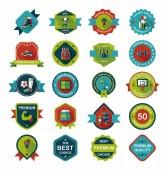 Sport badge flat banner design background set, eps10 — Stock Vector