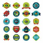 Toy badge banner design flat background set, eps10 — Stock Vector