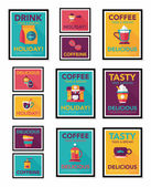 Coffee poster flat banner design flat background set, eps10 — Stock Vector