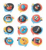 School bubble speech banner design flat background set, eps10 — Vector de stock
