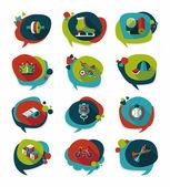 Sport discorso bolla piatto banner design background set, eps10 — Vettoriale Stock