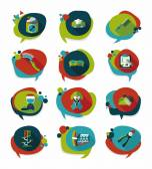 Pet bubble speech flat banner design background set, eps10 — Stock Vector