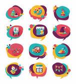 Christmas bubble speech banner design flat background set, eps10 — Stock Vector
