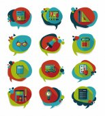 School bubble speech banner design flat background set, eps10 — Stock Vector