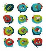 Toy speech bubble banner design flat background set, eps10 — Stock Vector