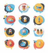 Baby bubble speech banner design flat background set, eps10 — Stock Vector
