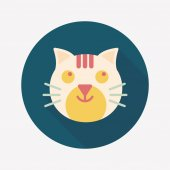 Pet cat flat icon with long shadow,eps10 — Stock vektor