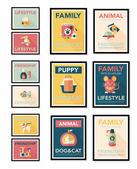 宠物海报平横幅设计背景设置,eps10 — 图库矢量图片