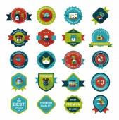 Pet badge flat banner design background set, eps10 — Stock Vector