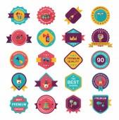 Birthday badge banner design flat background set, eps10 — Stok Vektör