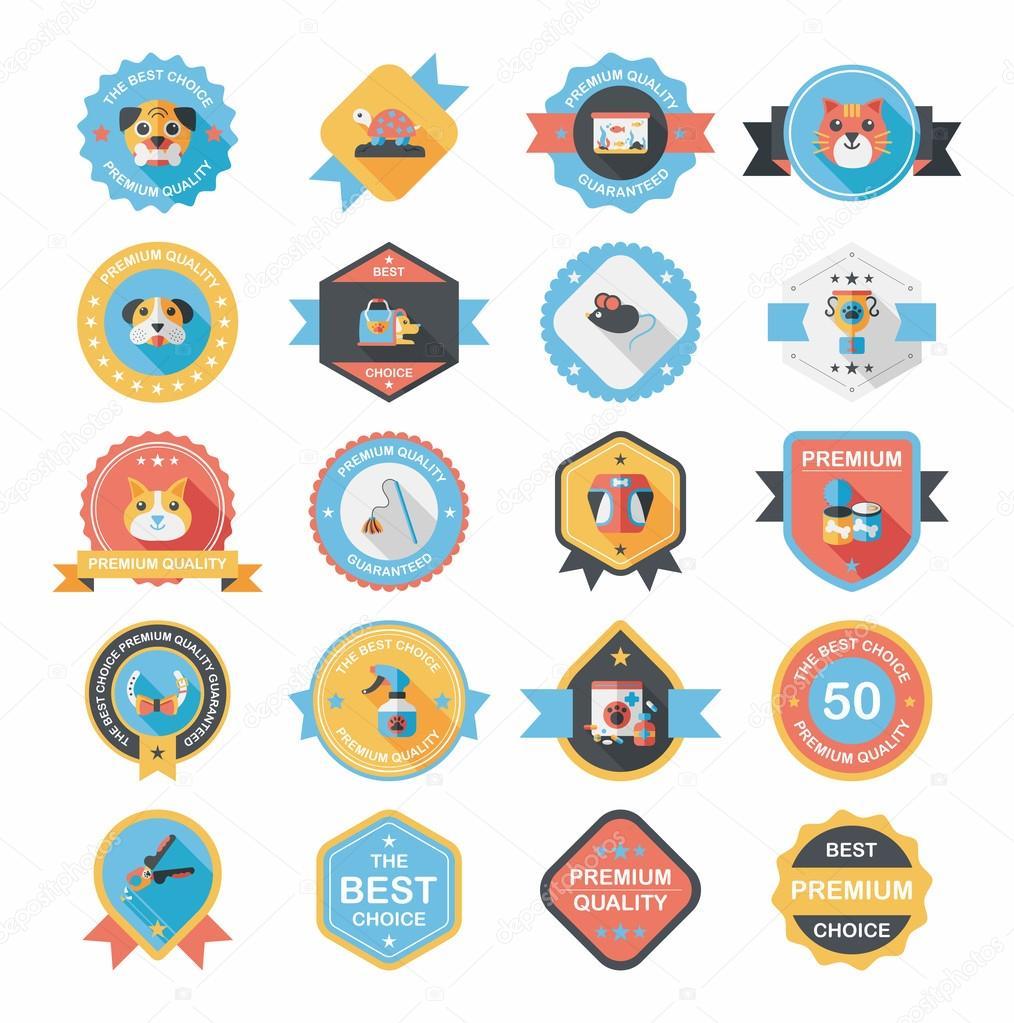 宠物徽章平横幅设计背景设置,eps10– 图库插图