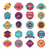 Pet badge flat banner design background set, eps10 — Stockvector
