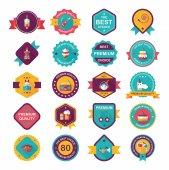Birthday badge banner design flat background set, eps10 — Stock Vector