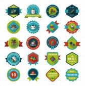 Chinese New Year badge flat banner design flat background set, e — Vetor de Stock