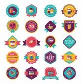 Coffee badge design flat background set, eps10 — Stock Vector