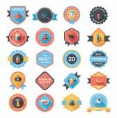 Halloween badge banner design flat background set, eps10 — Stock Vector