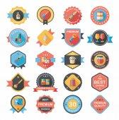 Kitchenware badge flat banner design background set, eps10 — Stock Vector