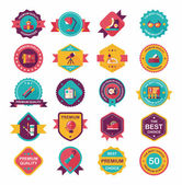 School badge banner design flat background set, eps10 — Stock Vector