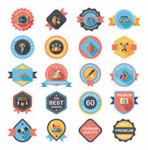 Sport badge flat banner design background set, eps10 — Wektor stockowy