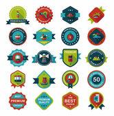 Travel badge banner design flat background set, eps10 — Vetor de Stock