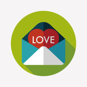 Valentine's day love letter flat icon with long shadow,eps10 — Wektor stockowy