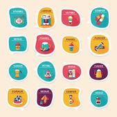 Coffee bubble speech flat banner design flat background set, eps — Stock Vector