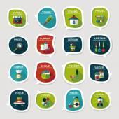 Kitchenware bubble speech flat banner design background set, eps — Stock Vector