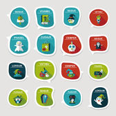 Halloween bubble speech banner design flat background set, eps10 — Stock Vector