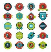 Halloween badge banner design flat background set, eps10 — Stockvektor