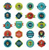 Halloween badge banner design flat background set, eps10 — 图库矢量图片